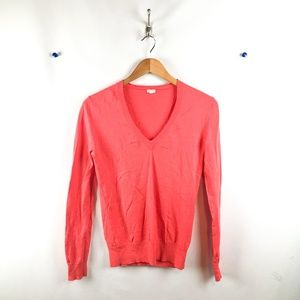 J. Crew V Neck Sweater Womens Sz Xs Long Sl Orange